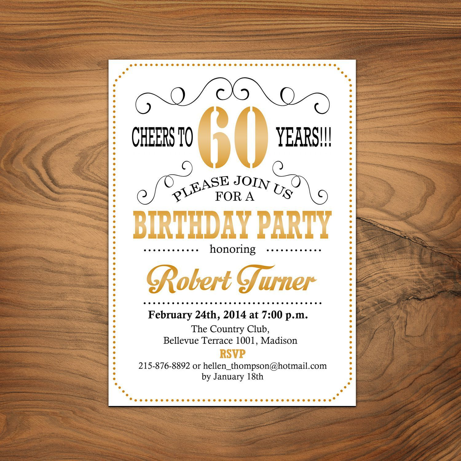 60th birthday invitations black and gold party invitations