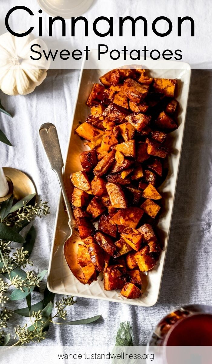 Cinnamon honey sweet potatoes that are caramelized and delicious. These are the perfect side dish for your Thanksgiving table. #Thanksgivingrecipes #thanksgivingsidedish #sweetpotatoes #glutenfree