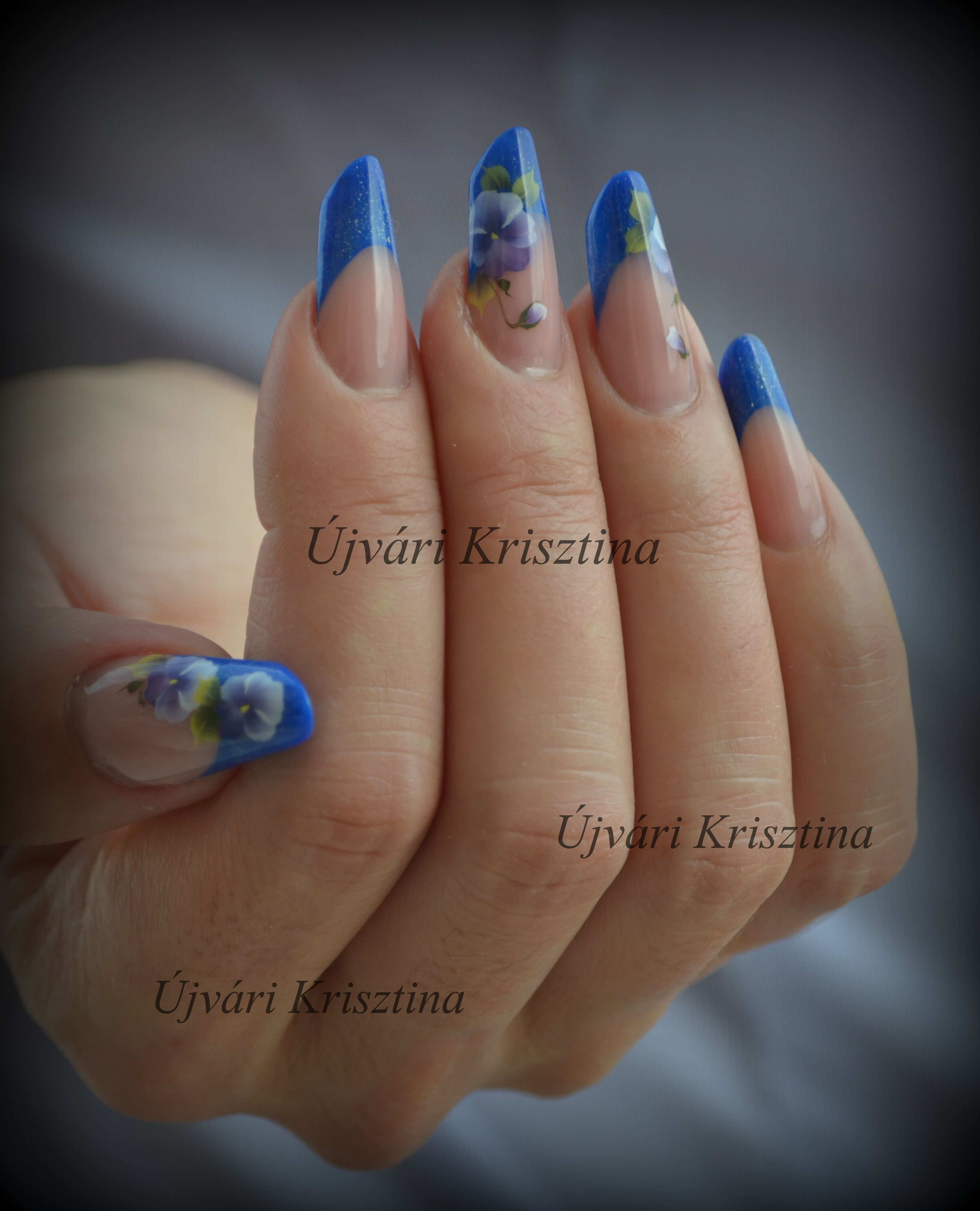 acrylic nails, russian almond form, handpainting | nails ...