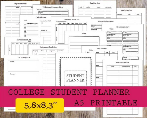 college student planner printable 2018 student planner a5 printable