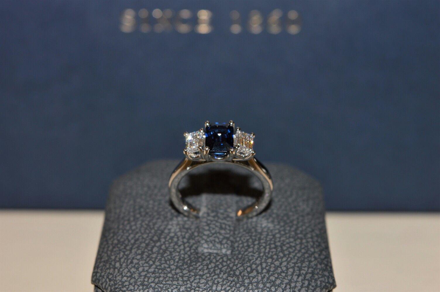Sapphire and emerald cut diamond ring www.hancocksjewellers.co.uk