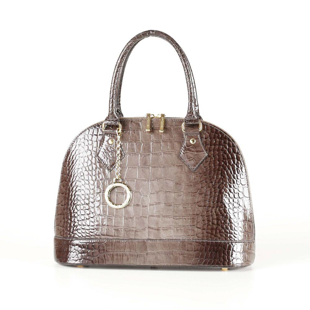 7517c6208e Attavanti - Arcadia Stella Leather Patent Bowling Grab Bag - Brown Croc