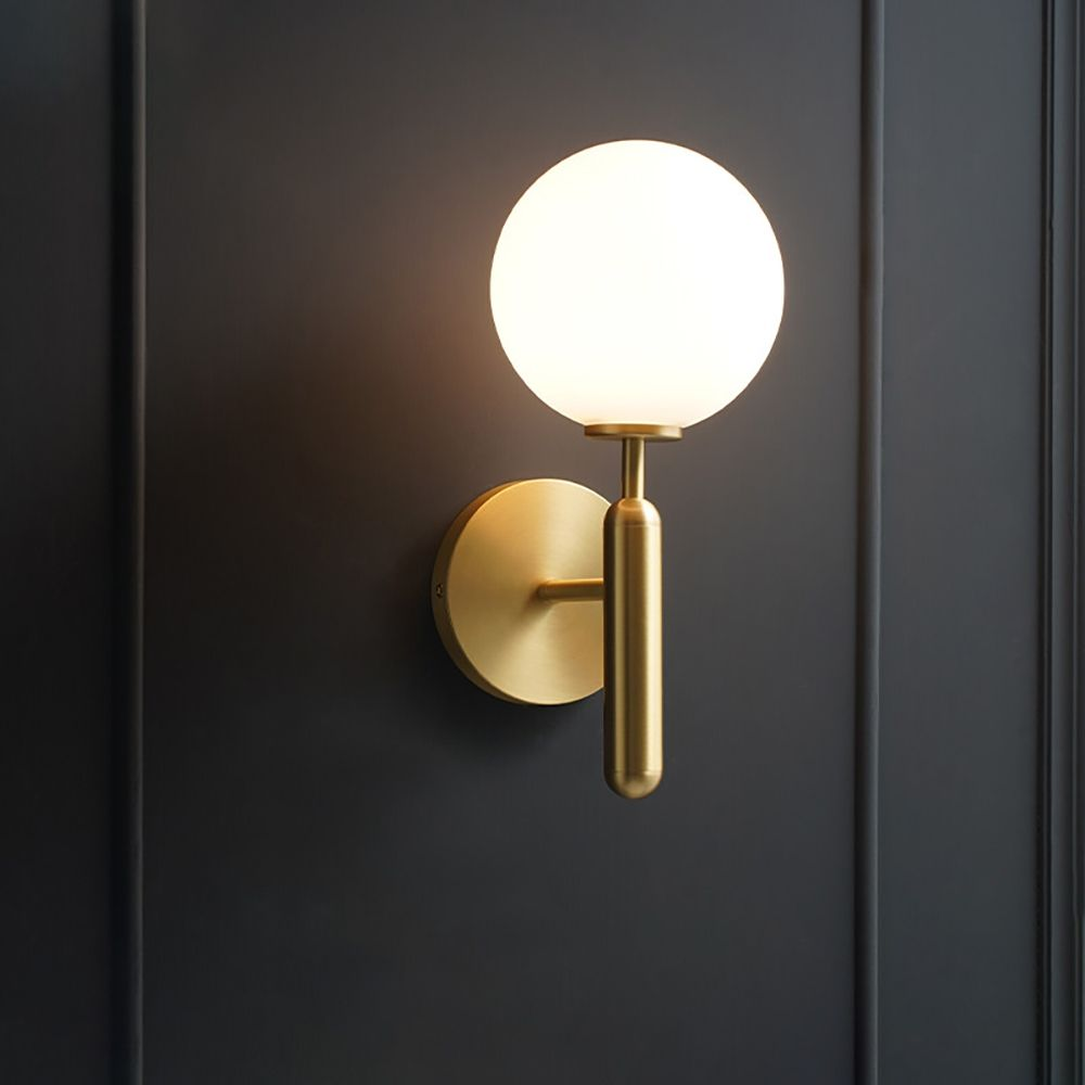 White And Gold Led Wall Sconce Indoor Glass Globe Wall Light In 2021 Globe Wall Light Modern Sconce Lighting Modern Wall Sconces