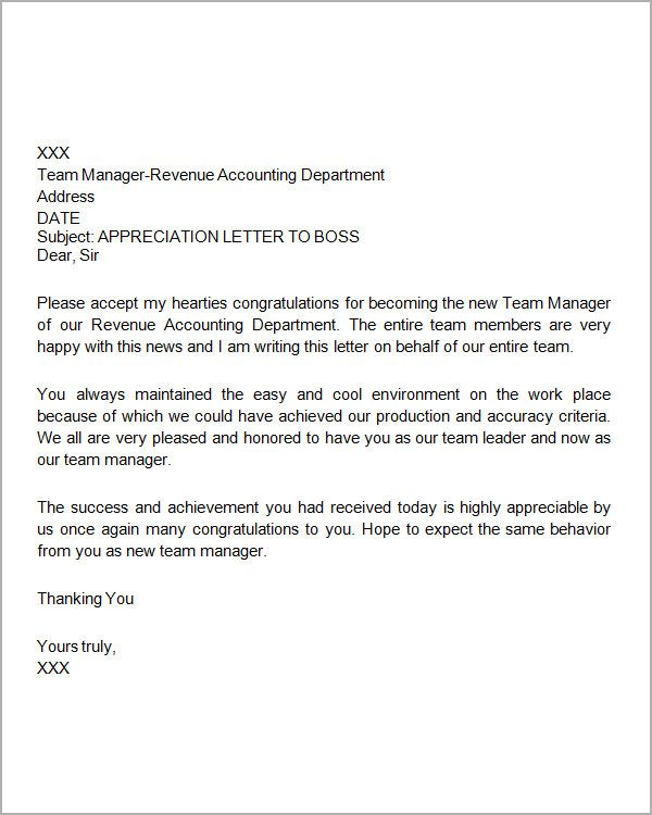 Thank You Letters Appreciation Letter Employee From Employer  Thank You Letter To Boss