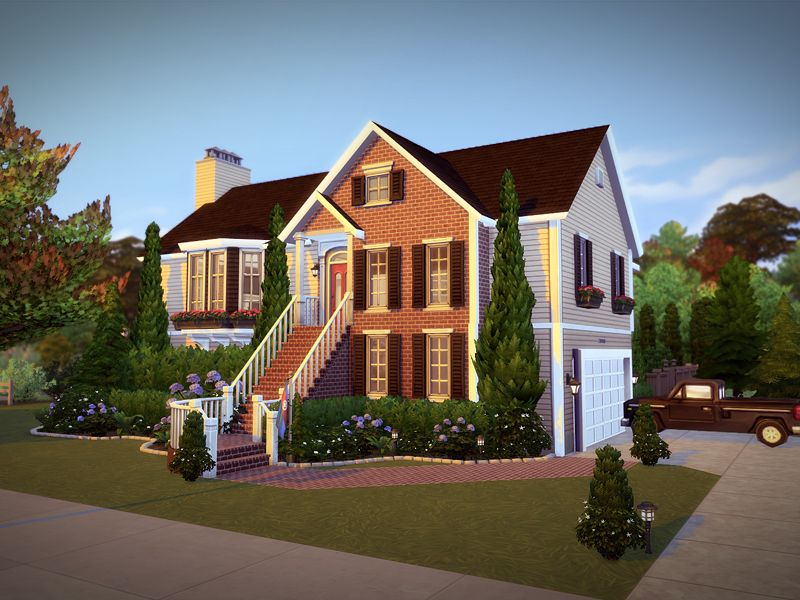 Cornerhill Is A Charming Home Built On A 40x40 Residential Lot Featuring 4 Bedrooms And 4 Baths Th Sims 4 House Building Sims House Design Sims 4 House Plans