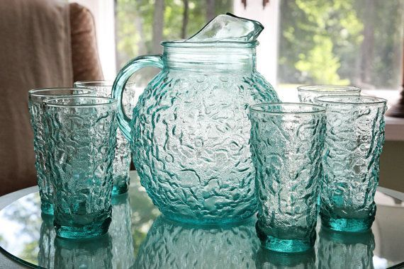 Old Anchor Hocking Glasses | Vintage Anchor Hocking Lido Ball Glass Pitcher and 6 Glasses ...