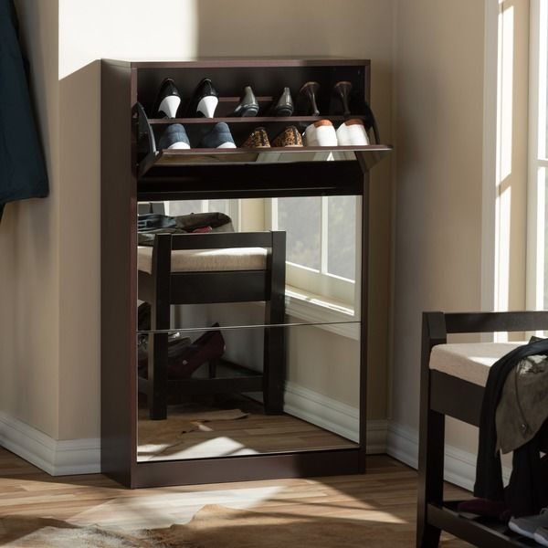 Albany Wood Shoe Storage Cabinet With Mirror In Brown