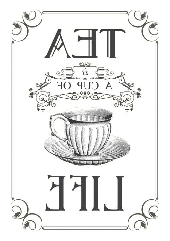 Tea graphic reversed and ready to be printed on a laser printer and transferred onto your painted surface with Artisan Enhancements Transfer Gel!