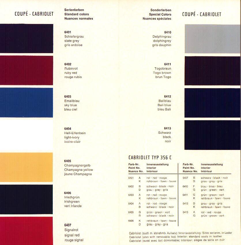 Proper Vintage Porsche 356 Color Charts Gris Ardoise Ardoise