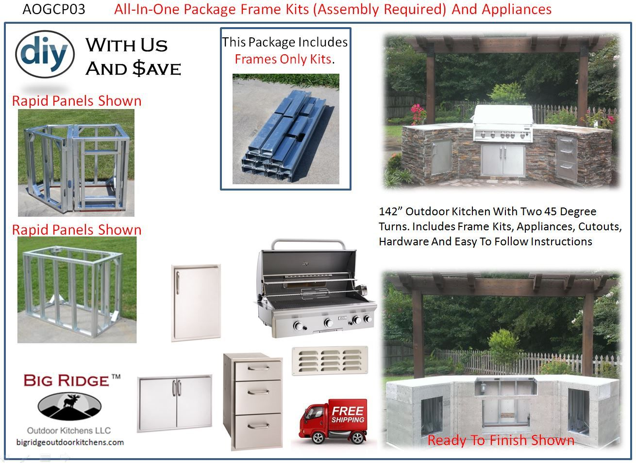 Complete Outdoor Kitchen Aogcp03 Outdoor Kitchen Kit Package Aog