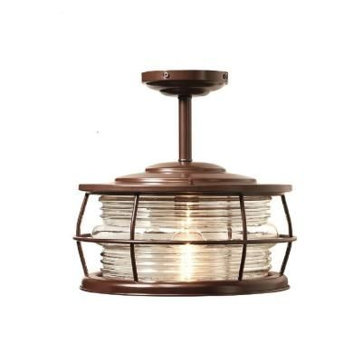 Home Decorators Collection Harbor 1-Light Copper Outdoor Hanging Convertible Semi-Flush Mount Light-HDP11970 - The Home Depot