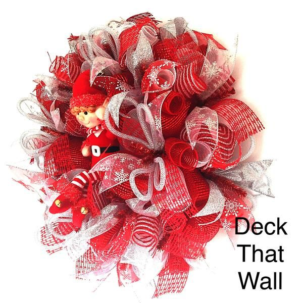 red and white christmas mesh with elf wreath wreaths ribbon