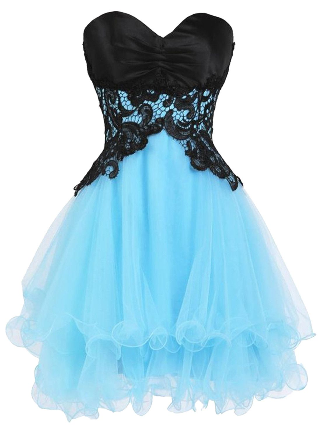 Blue Black Block Strapless Lacy Homecoming Dress | Homecoming ...