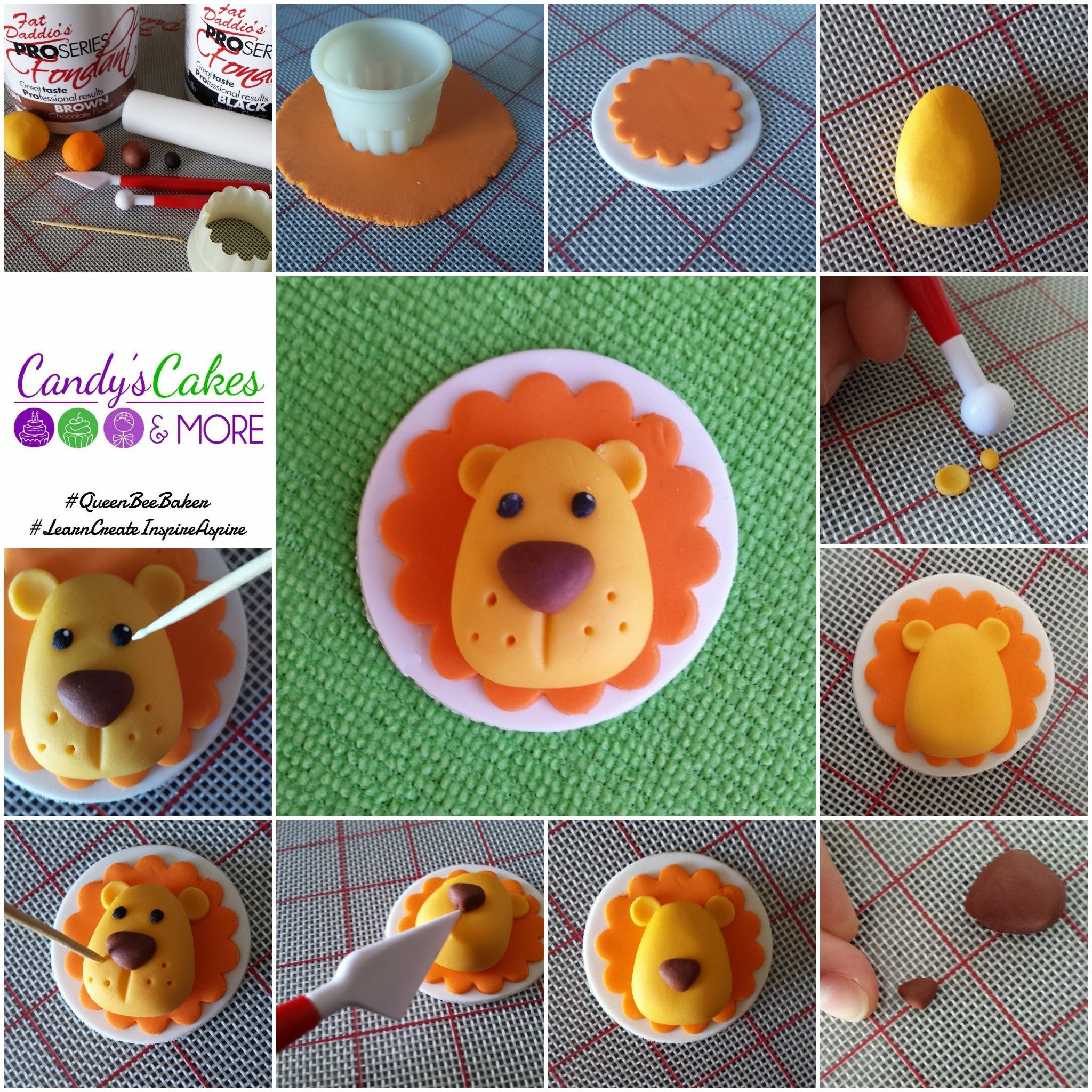 Cupcake Toppers Made Easy: Lions #fondant