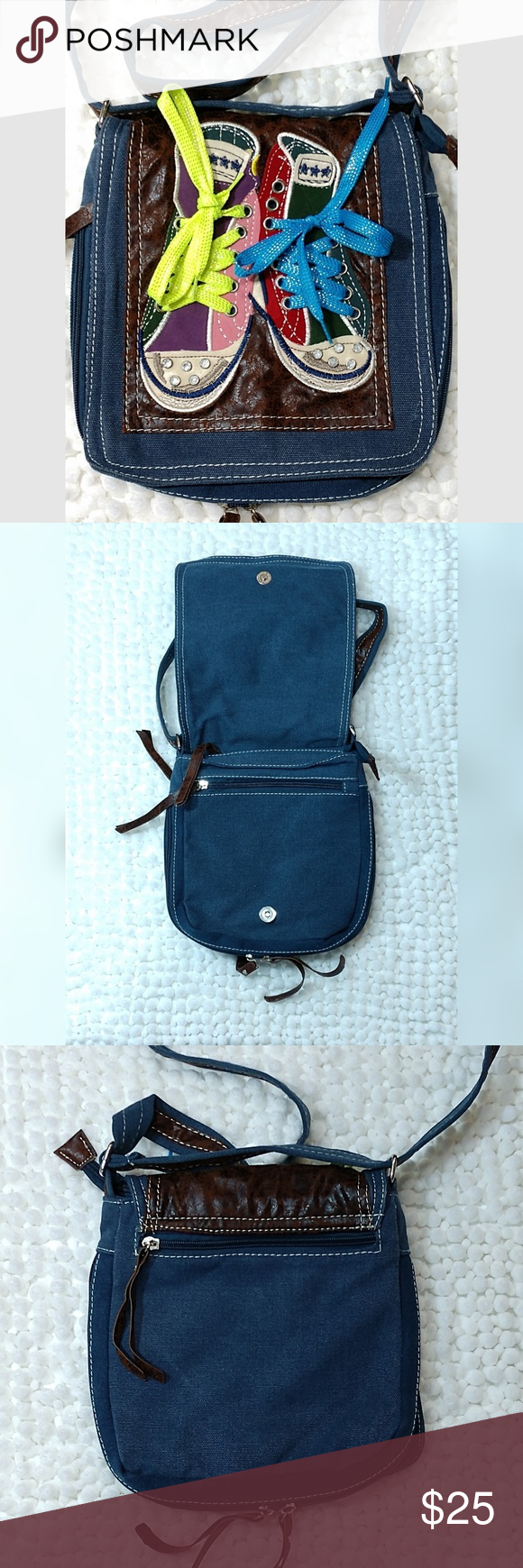 d5434d0471 Cross body purse Crossbody denim bag with converse style shoe embroidery  over a leather like top. Front