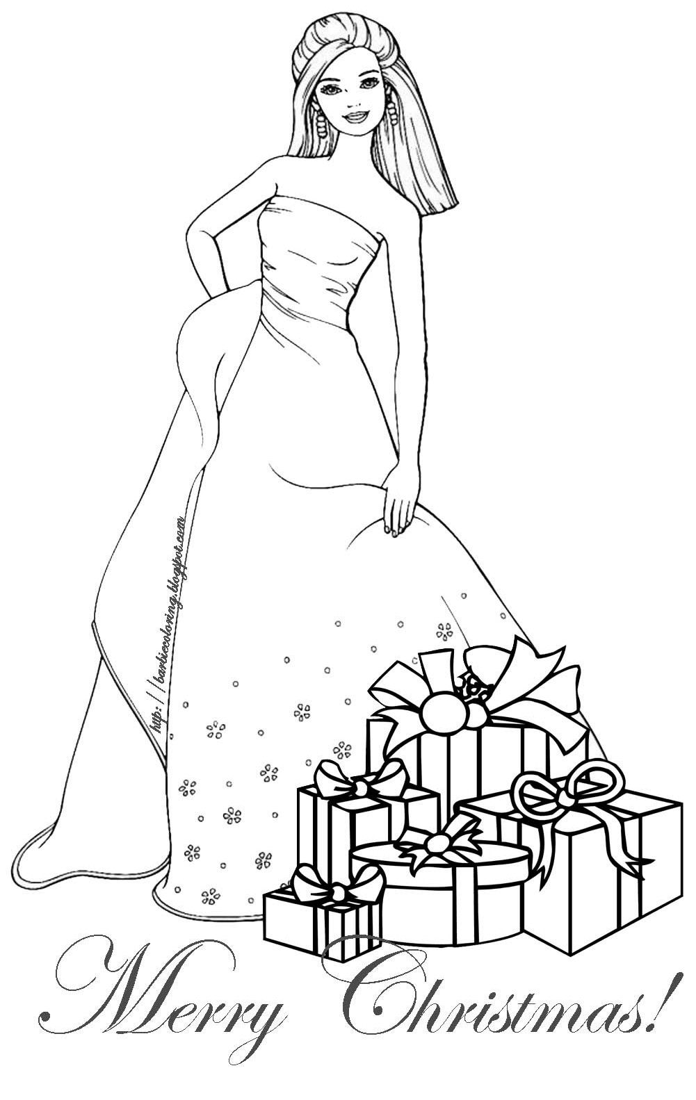 Barbie Christmas Coloring Page Barbie Coloring Pages Barbie