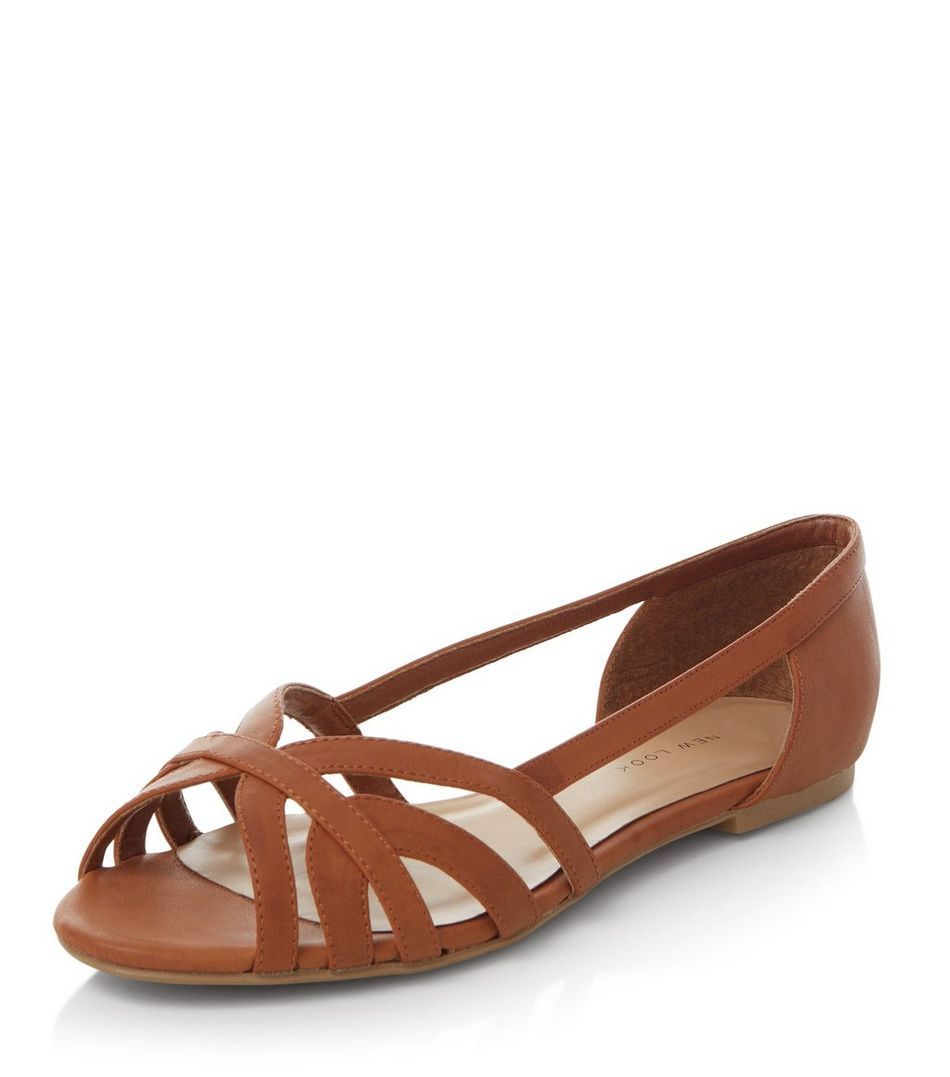Wide Fit Tan Strappy Pumps   New Look
