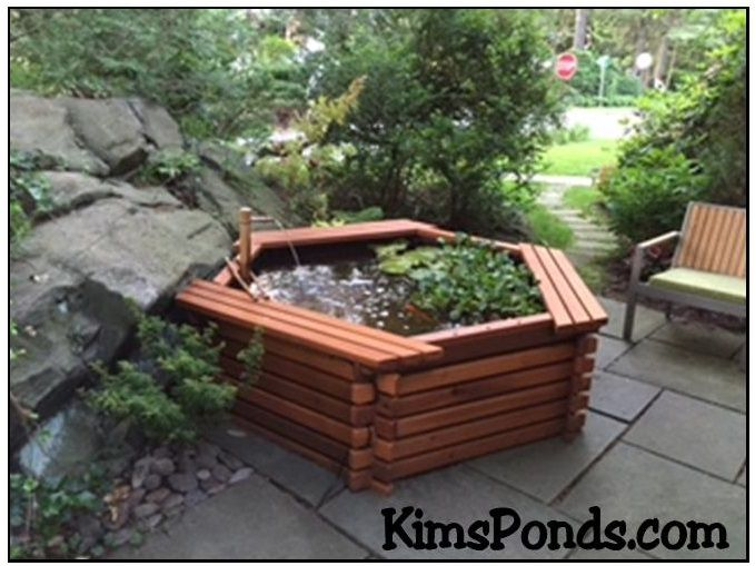 Jonathon S 300 Gallon Pond Kit Is Located On His Patio Another Fabulous Location I Love The Bamboo Fountain Too See Other Pond Kits Bamboo Fountain Koi Pond