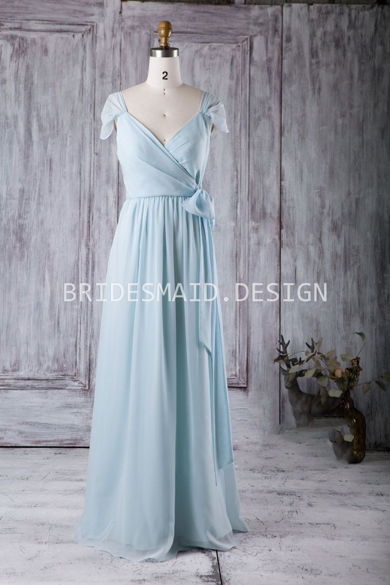Light Blue Casual Chiffon Cap Sleeve V Neck A-line Long Bridesmaid ...