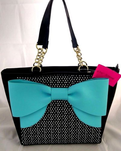 76211f6ebcab Betsey Johnson Large Bow Tote Shoulder Bag Polka Dot Black Blue White  BM19370
