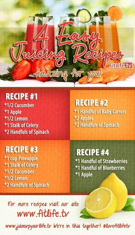 4 Easy Juicing Recipes Healthy Juices Juicing Recipes Juice Smoothies Recipes