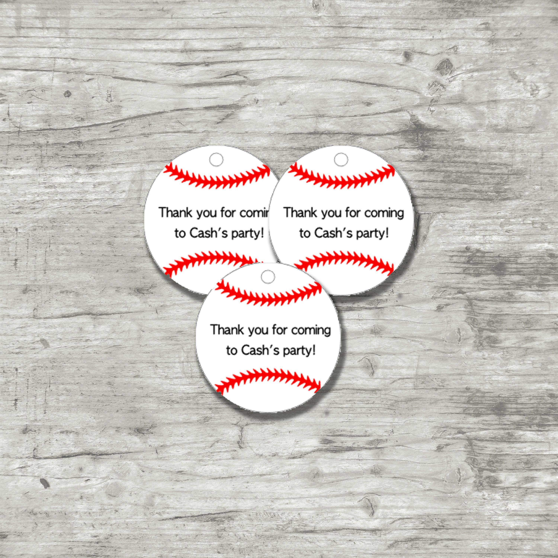 Printable Baseball Tags, Digital Baseball Tags, Baseball Theme Birthday Party,