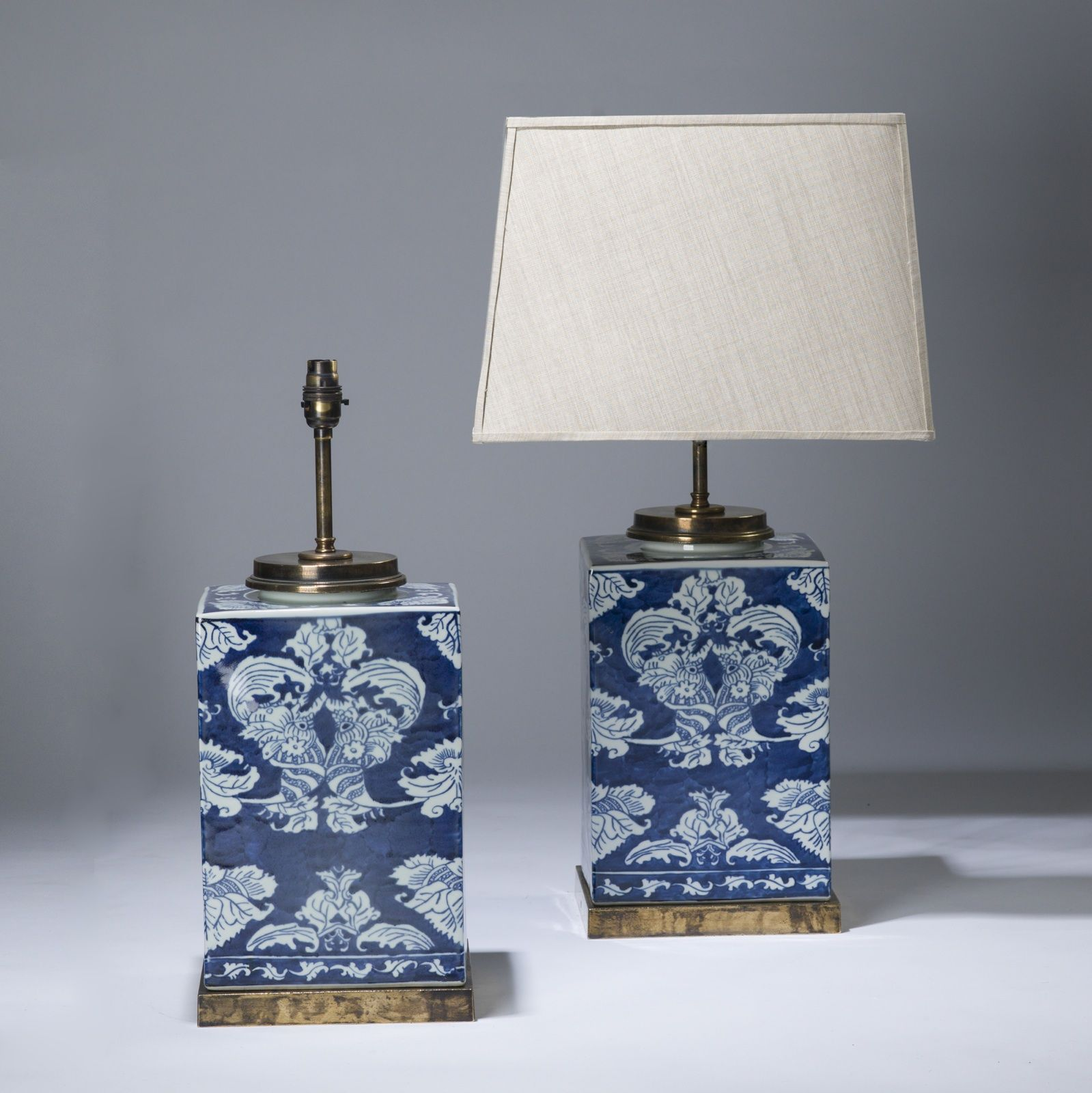 Pair Of Medium Blue White Square Ceramic Lamps On Distressed Brass Bases T3617 Tyson London Decorative Lighting A White Ceramic Lamps Ceramic Lamp Lamp