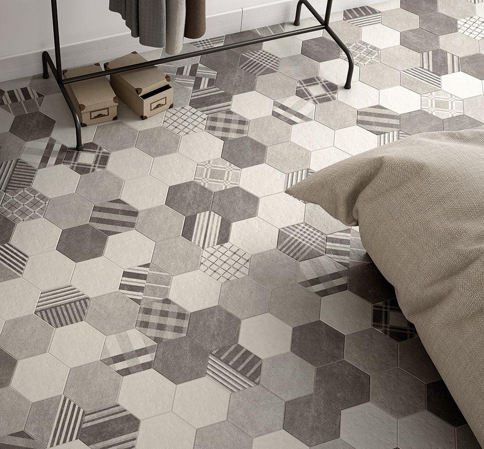 Carrelage hexagonal imitation ciment à motif mate HEXATILE CEMENT ... - Carrelage Hexagonal Sol