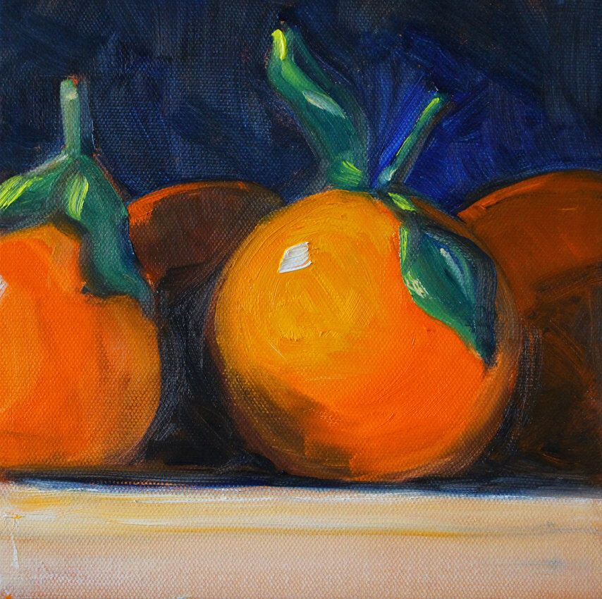 tangerine still life oil painting, original 8x8 citrus fruit, tiny