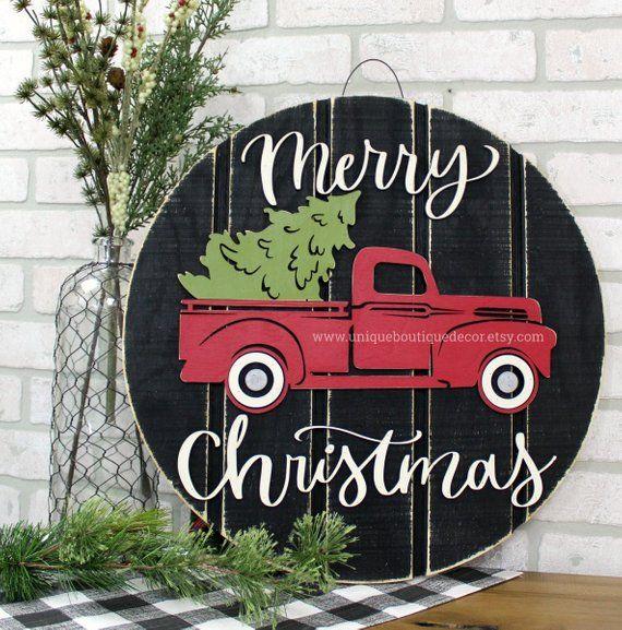 """Roter LKW mit Baum Türschild, Frohe Weihnachten Türhänger, Bauernhaus Weihnachtsdekor, 19,5 """", Haustür Dekor, rustikaler Kranz für Haustür   – Christmas"""
