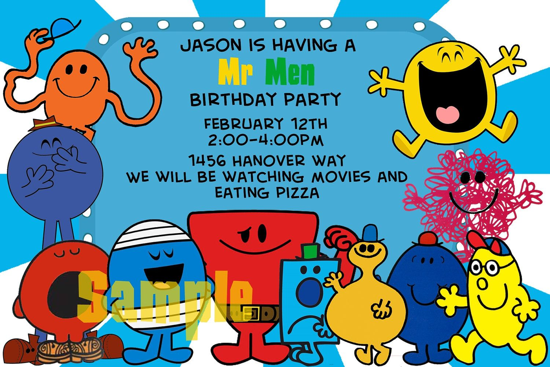 Birthday Invitation Mr Men 14 00 Via Etsy Mr Men Mens Birthday Party Mr Men Party