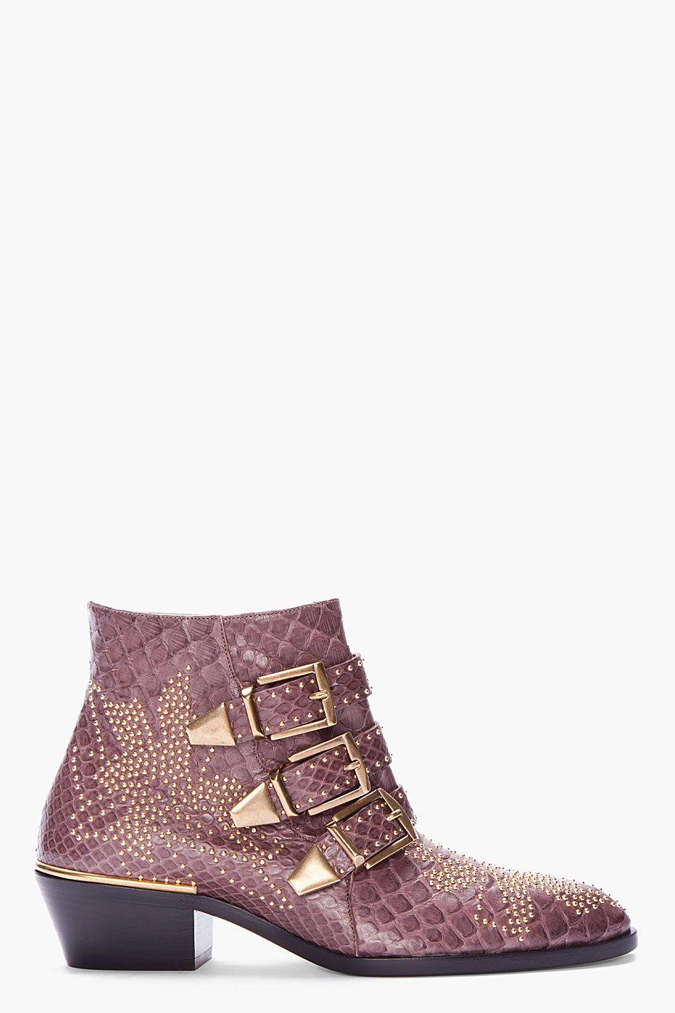 Chloé Susanna Python Leather Ankle Boots 13EzXSmcO