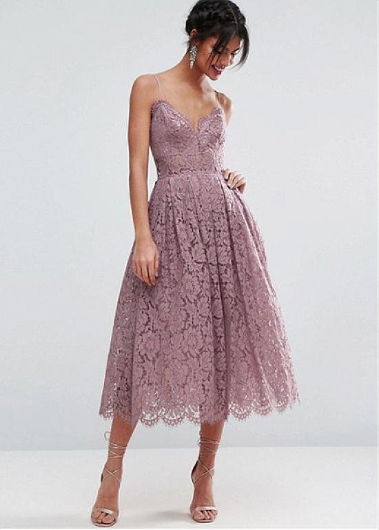 1a6f47abca Buy discount Romantic Lace Spaghetti Straps Neckline Tea-length A-line  Bridesmaid Dress at Dressilyme.com