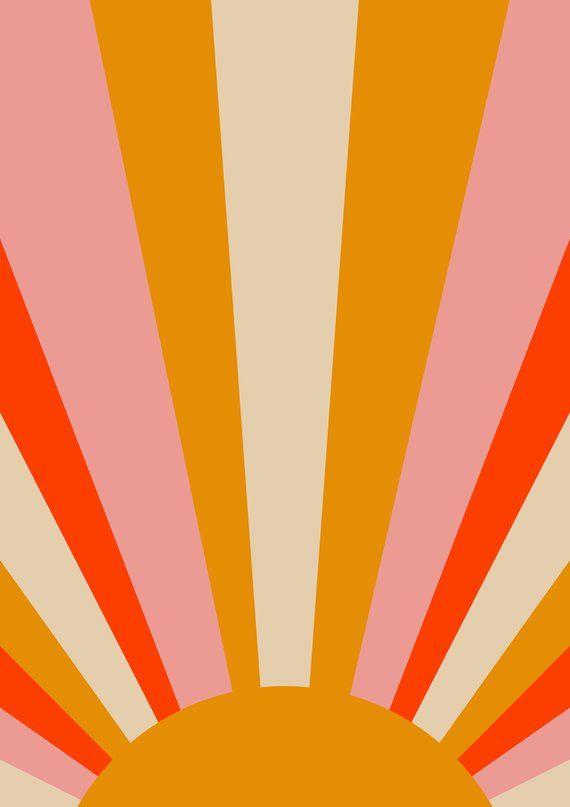 Sun Art Print Mid Century Modern Art Print Framed Trending Etsy Sun Art Artsy Background Retro Poster