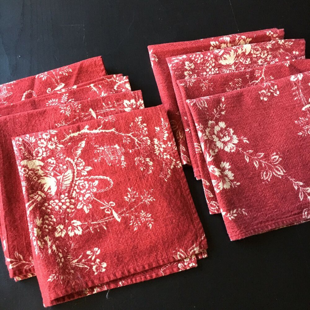 Waverly Country House Toile Red 8 Cloth Napkins Handmade