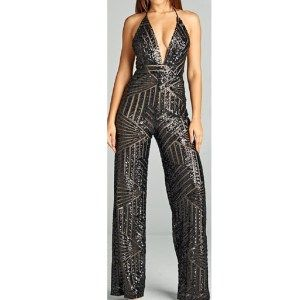 cfaacde6b2db Deep Plunge Sequin Jumpsuit - Prima Dons   Donnas