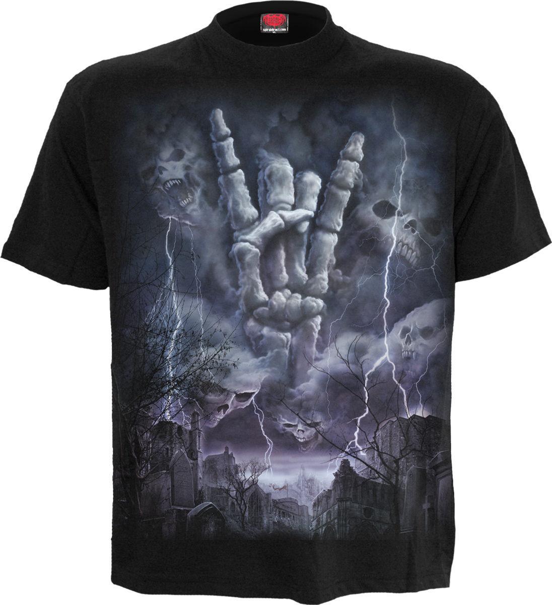 Biker Skulls Cross T-Shirt Clothing Spiral Direct BLEEDING SOULS Mens Metal