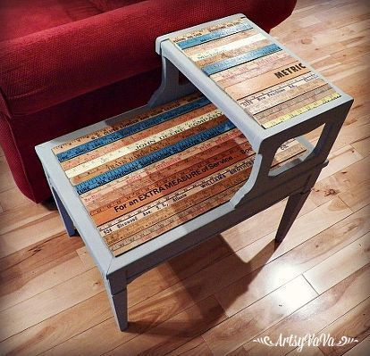 Photo of Upcycled table with yard sticks