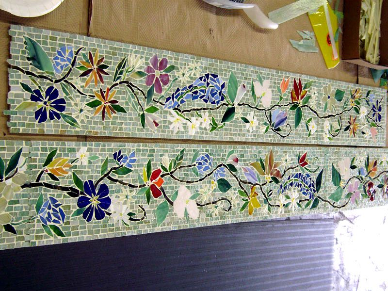 Mosaic Border Tiles in Floral Motif Designer Glass