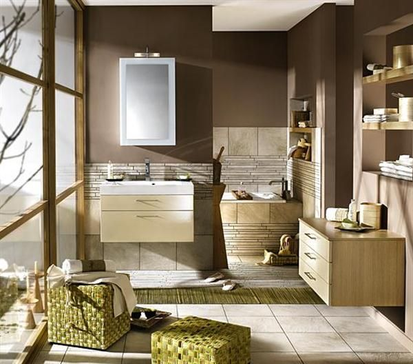 Hochwertig Wandfarbe Braun Modernes Badezimmer