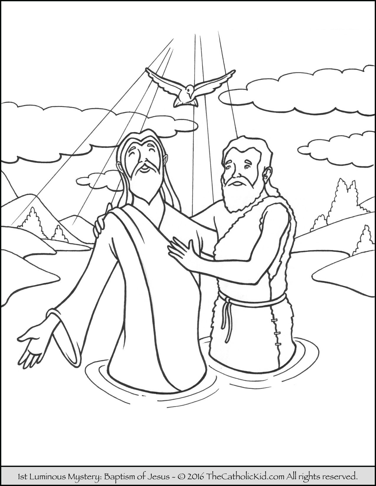 The 1st Luminous Mysteries Rosary Coloring Pages Baptism of