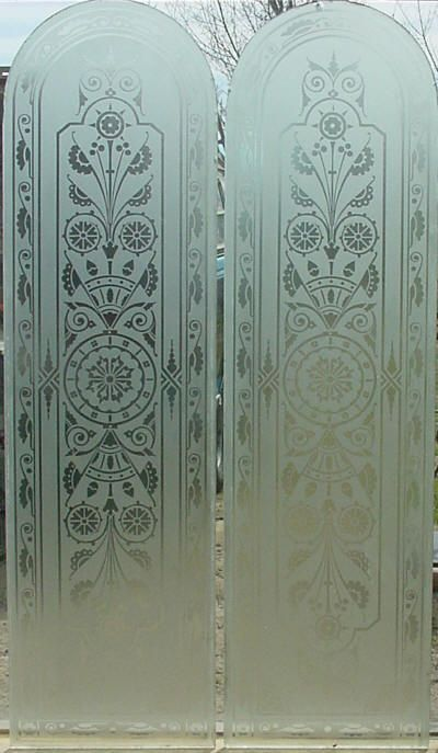 Pr Arched Top Antique American Etched Glass Door Panels 1