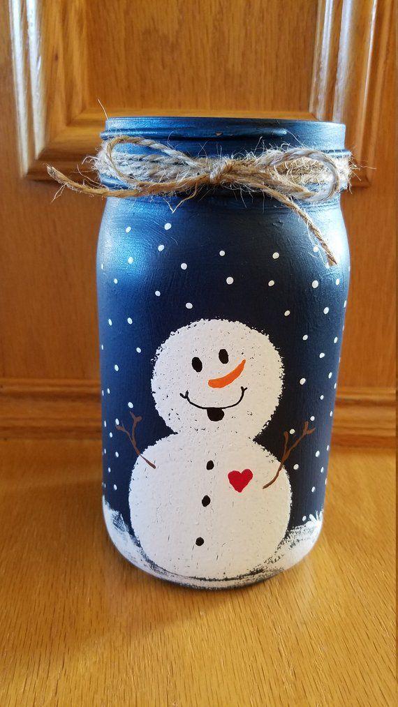 Snowman Mason Jar #masonjardiy