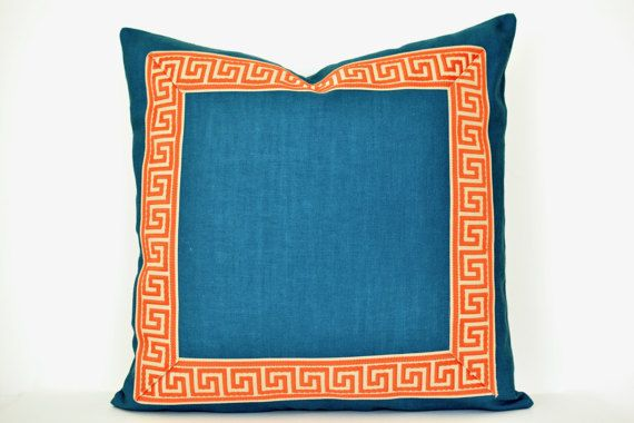 Teal Pillow Cover With Greek Key Trim And Orange