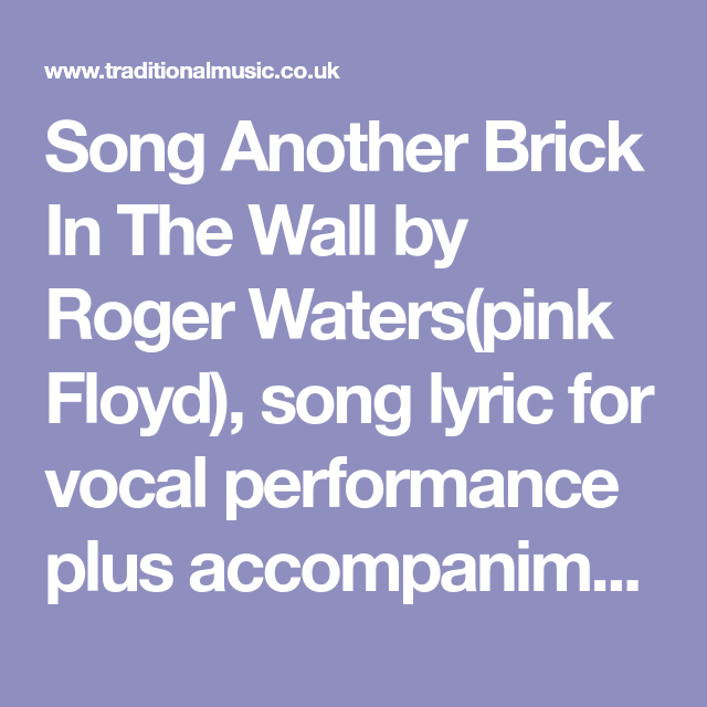 Song Another Brick In The Wall By Roger Waterspink Floyd Song