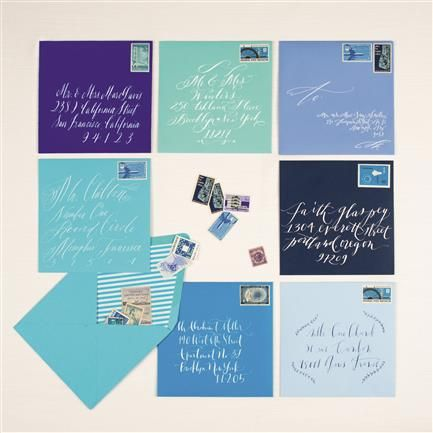Calligraphy on blue envelopes from Weddings In Color: 500 Creative Ideas for Designing a Modern Wedding