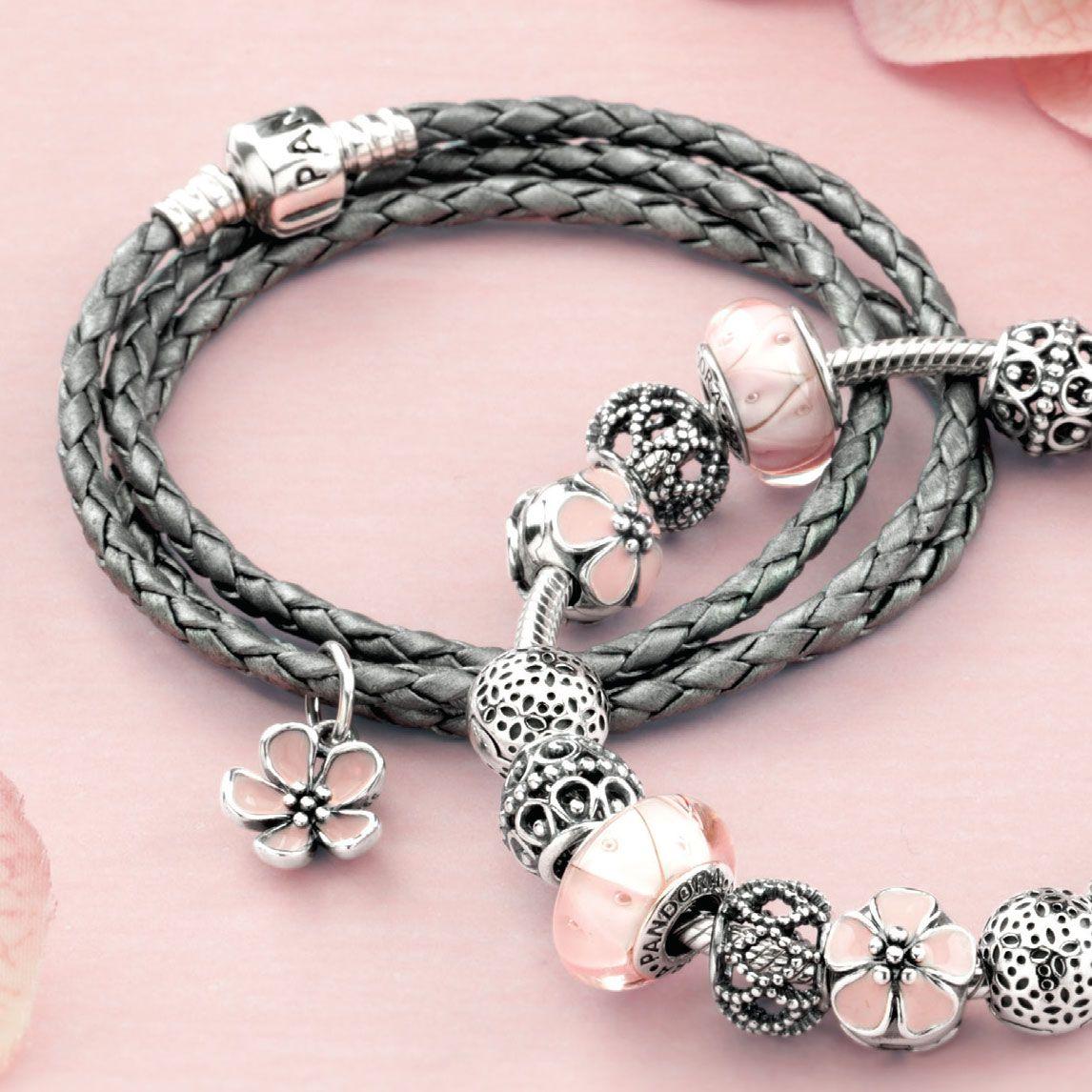 Pandora Pandora Jewelry: Pandora Cherry Blossom With Pink Enamel Stories Pendant