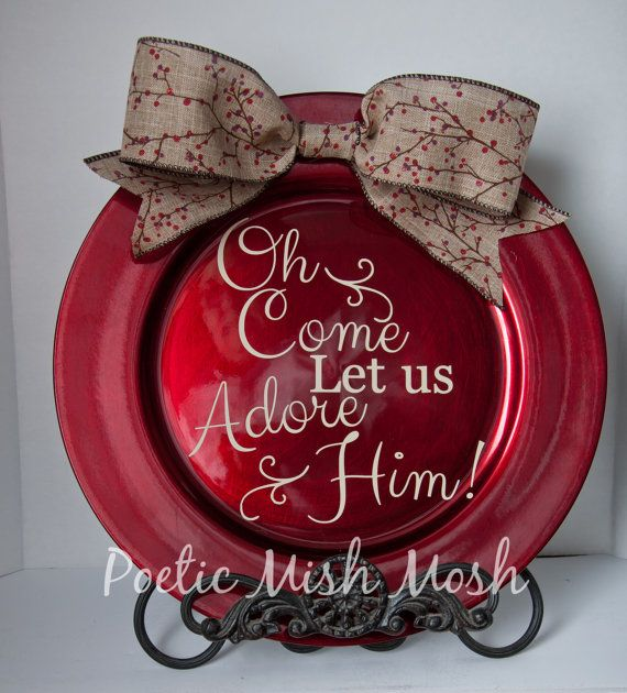 Pin By Tina Taylor On Shiplap: Red Christmas Charger Plate With Festive Burlap By
