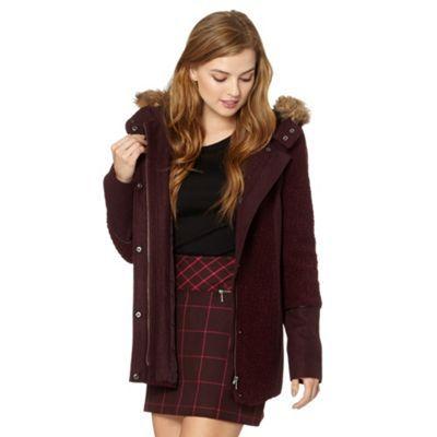 Red Herring Dark red wool mix duffle coat- at Debenhams.com ...