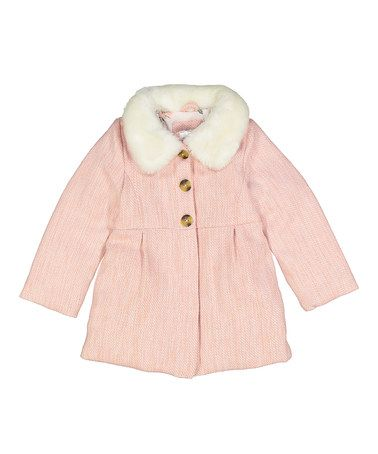 Another great find on #zulily! Pink & White Pea Coat - Infant, Toddler &…